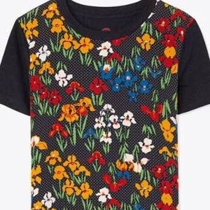 Tory Burch floral T-shirt. Size XS. cotton/silk